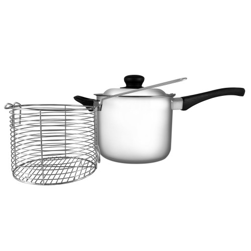 555 Stainless Steel Deep Fryer Set With Tri Ply Base 18cm