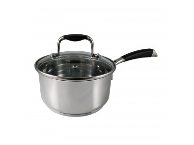 555 Tri-Ply Stainless Steel Saucepan with Tempered Glass Lid 16cm