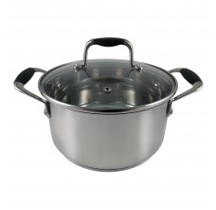 555 Tri-Ply Stainless Steel Cooking Pot with Tempered Glass Lid