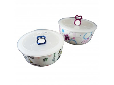 SITBO Microwave Porcelain Bowl with Vented Lid
