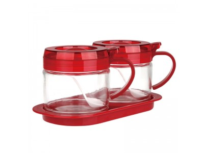 SITBO Glass Condiment 2-pc Set with Tray