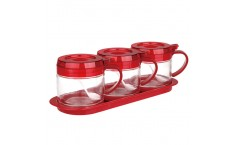 SITBO Glass Condiment 3-pc Set with Tray