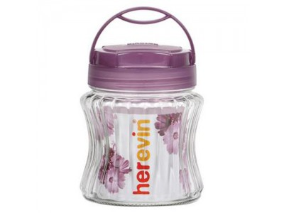 HEREVIN Striped Glass Jar with Handle